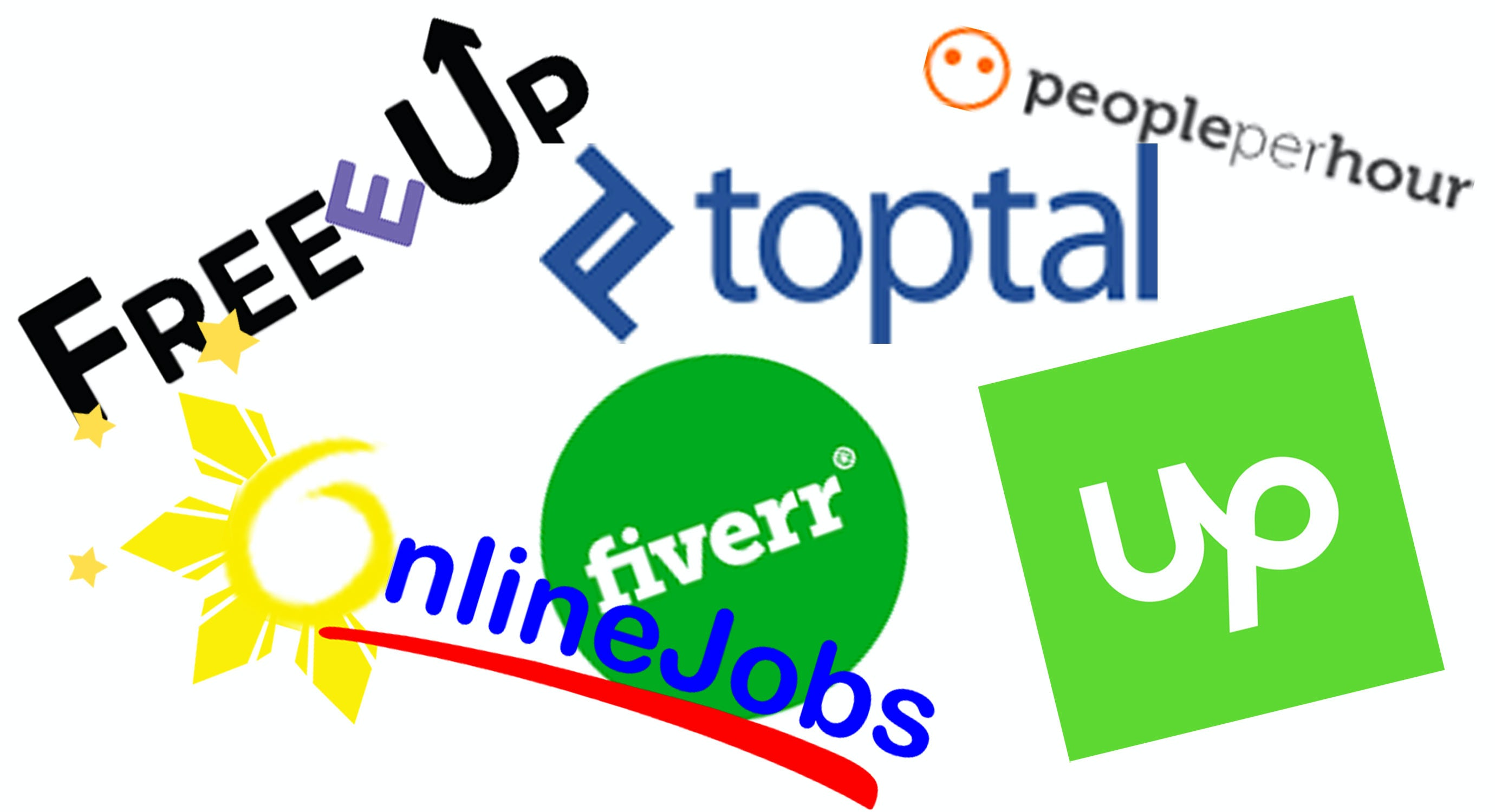 Collage of icons of freelance marketplaces