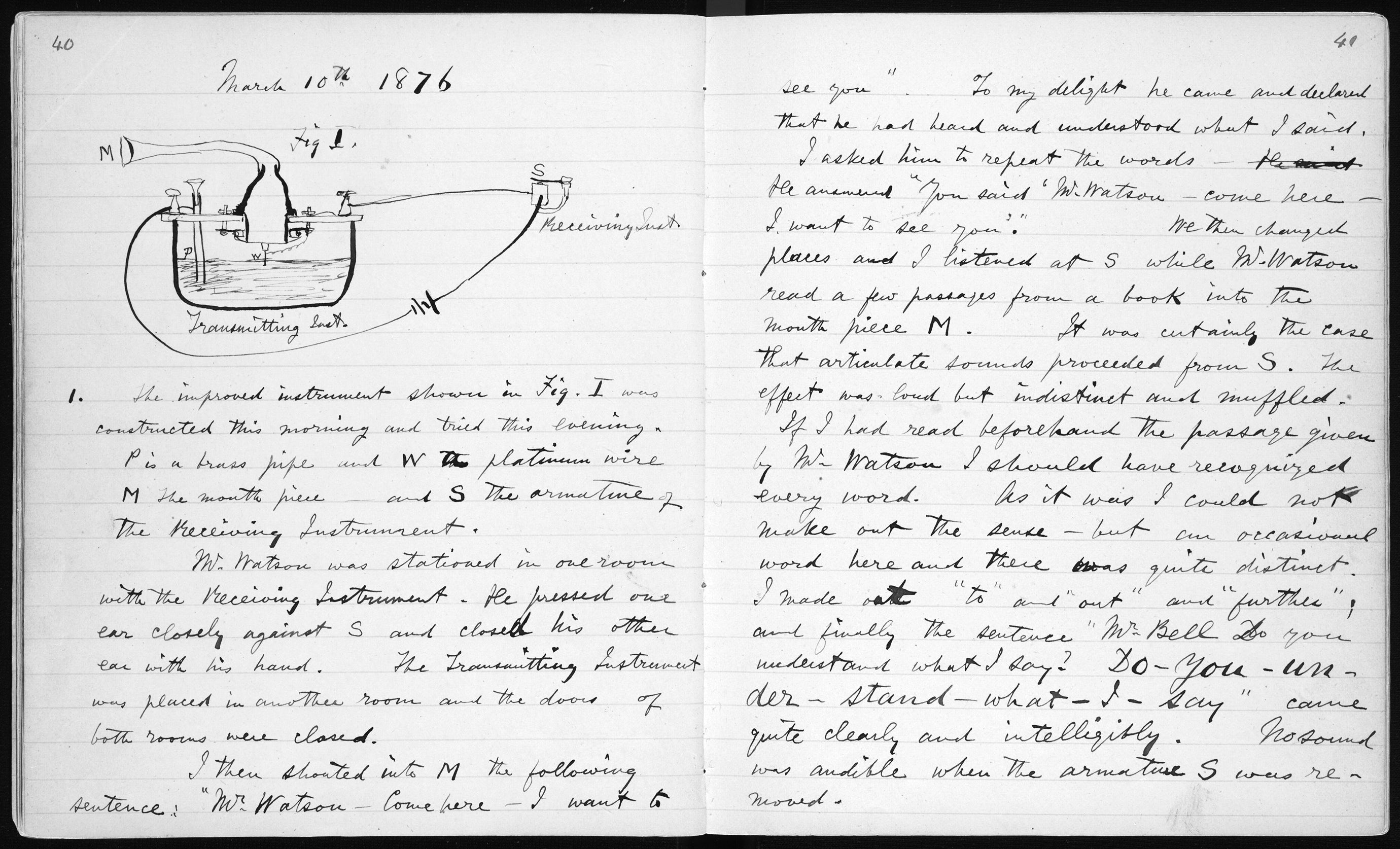 Alexander Graham Bell Lab Notebook - March 10, 1876