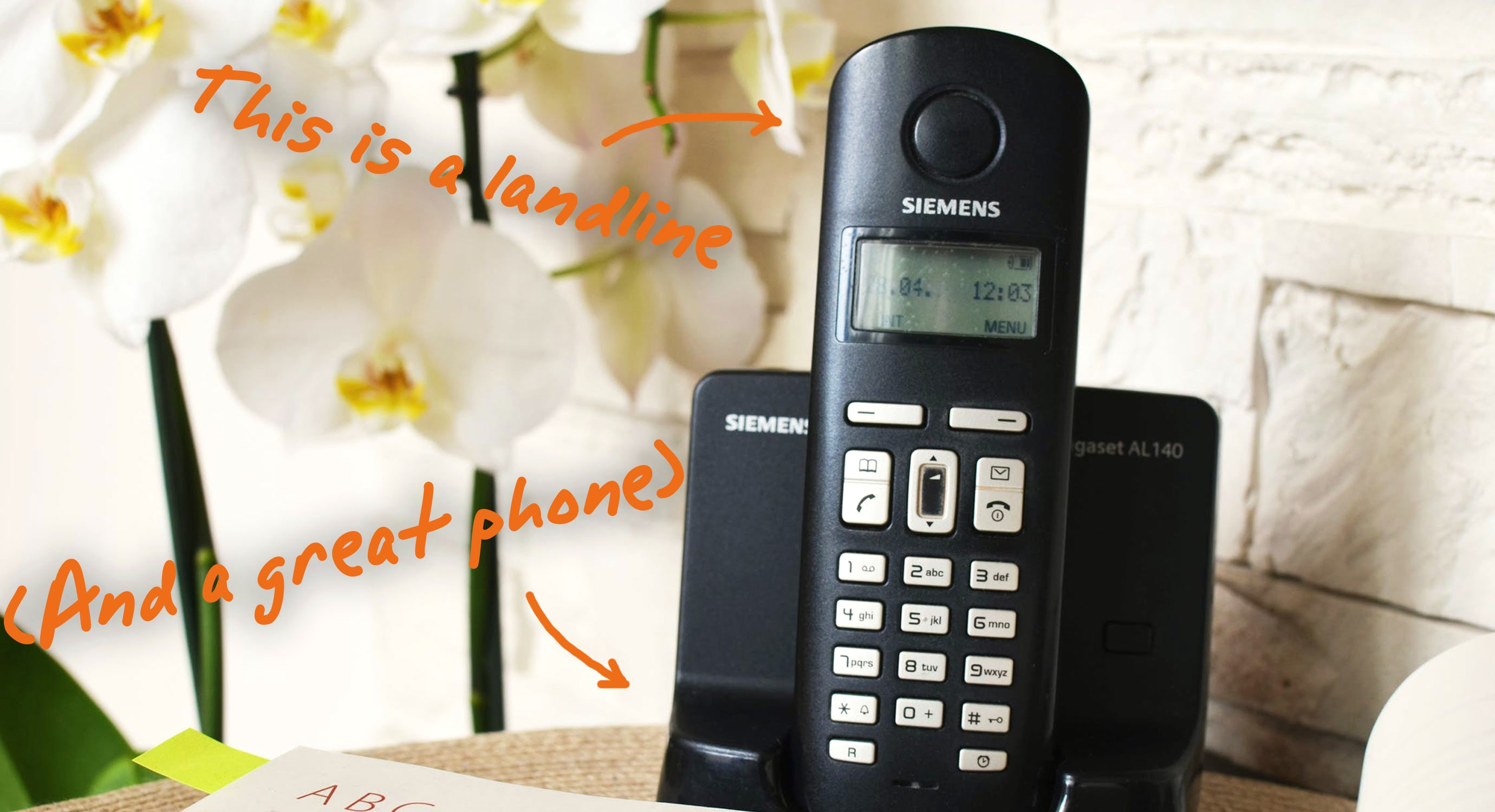a cordless landline phone in use