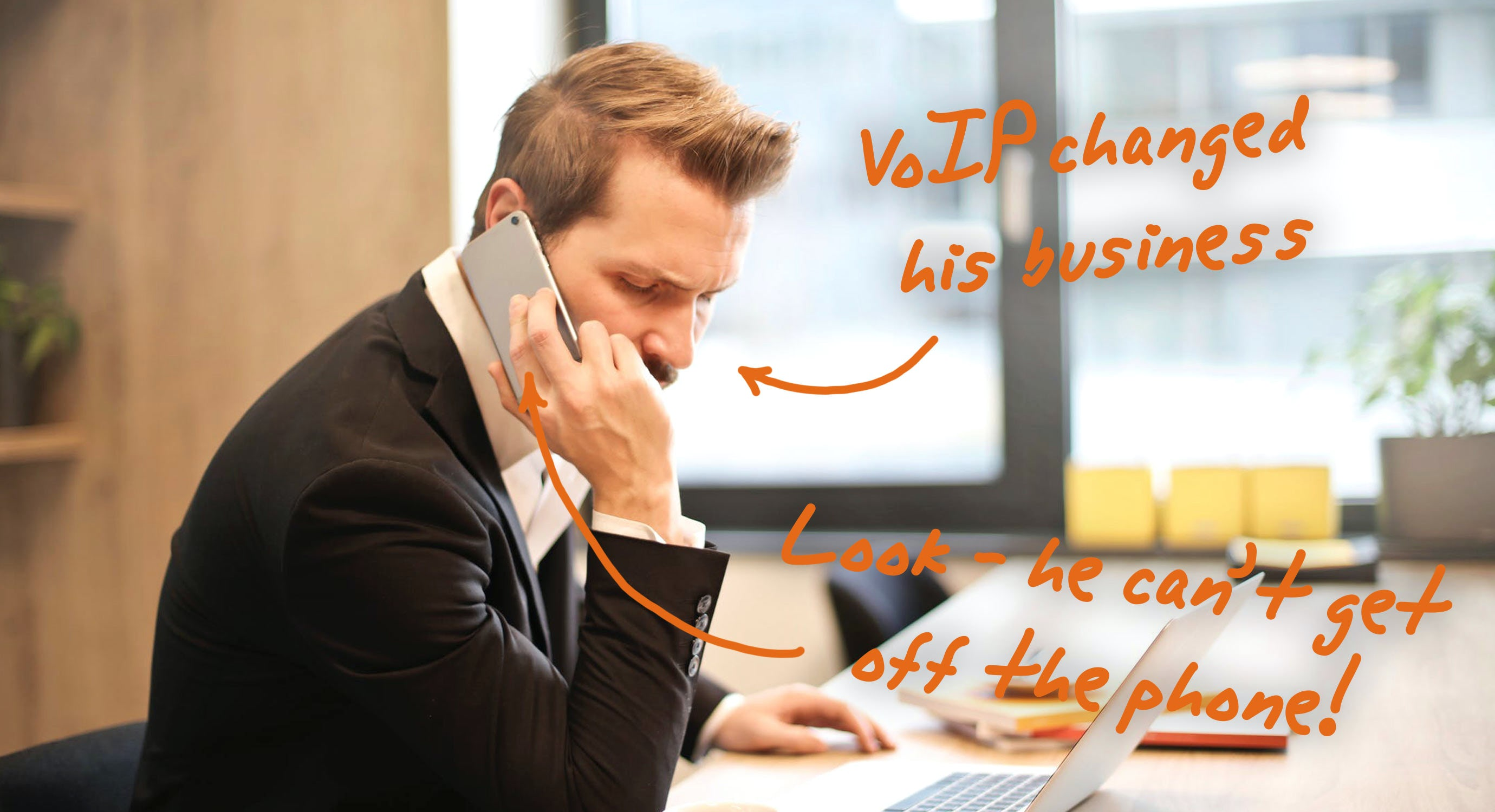Image of people using VoIP phones