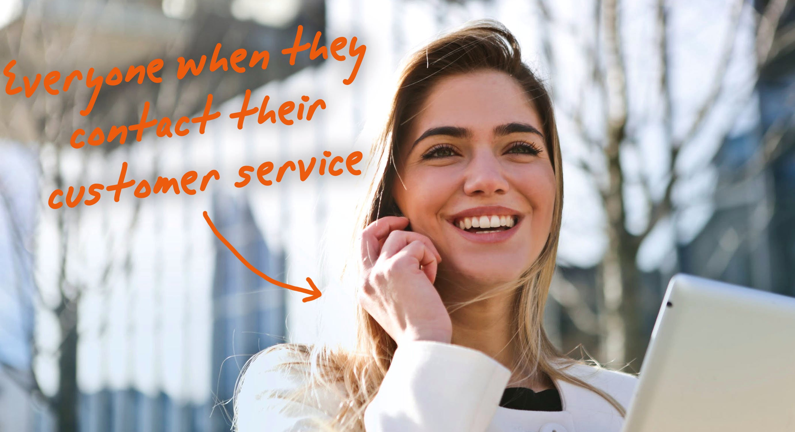 someone on the phone enjoying the customer service